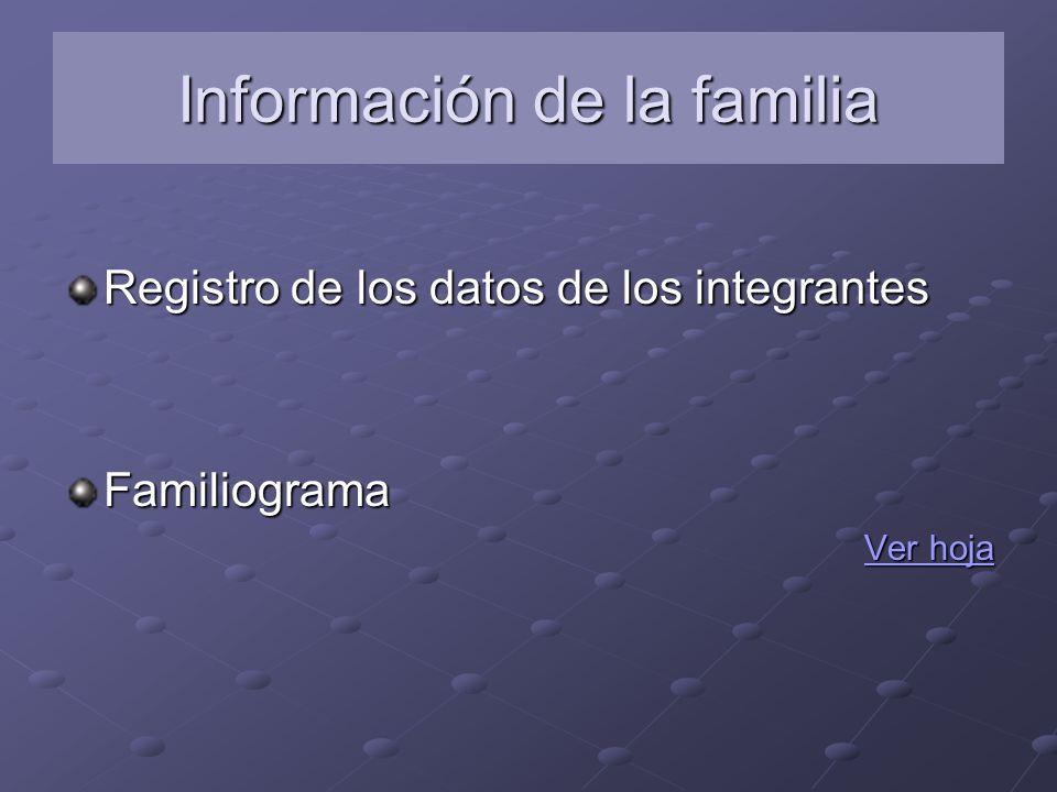 Información de la familia Registro de los datos de los integrantes Familiograma Ver hoja Ver hoja