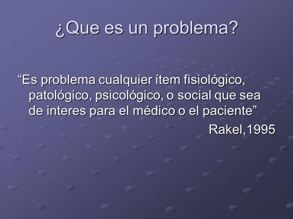 ¿Que es un problema? Es problema cualquier ítem fisiológico, patológico, psicológico, o social que sea de interes para el médico o el paciente Rakel,1