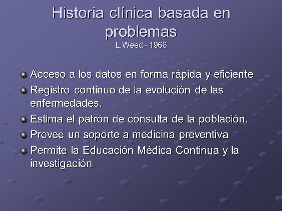 Historia clínica basada en problemas L.Weed - 1966 Acceso a los datos en forma rápida y eficiente Registro continuo de la evolución de las enfermedade