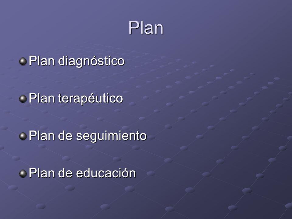 Plan Plan diagnóstico Plan terapéutico Plan de seguimiento Plan de educación