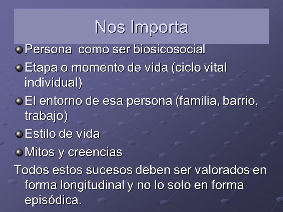 Nos Importa Persona como ser biosicosocial Etapa o momento de vida (ciclo vital individual) El entorno de esa persona (familia, barrio, trabajo) Estil