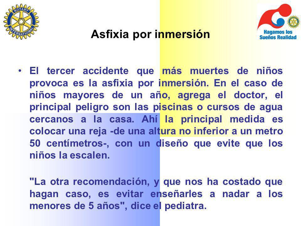 Asfixia por inmersión El tercer accidente que más muertes de niños provoca es la asfixia por inmersión. En el caso de niños mayores de un año, agrega