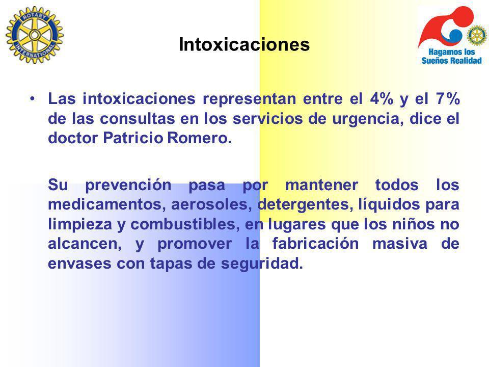 Intoxicaciones Las intoxicaciones representan entre el 4% y el 7% de las consultas en los servicios de urgencia, dice el doctor Patricio Romero. Su pr