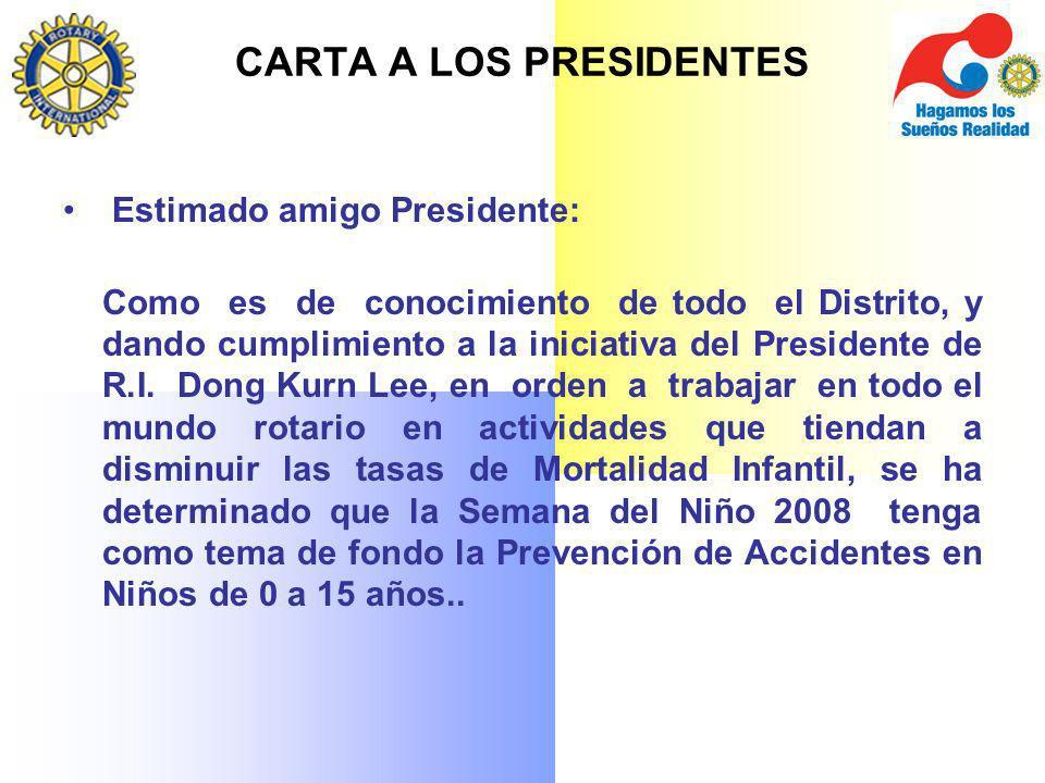 CARTA A LOS PRESIDENTES Estimado amigo Presidente: Como es de conocimiento de todo el Distrito, y dando cumplimiento a la iniciativa del Presidente de