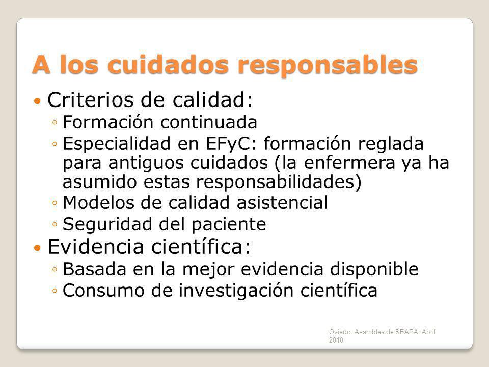 A los cuidados responsables Criterios de calidad: Formación continuada Especialidad en EFyC: formación reglada para antiguos cuidados (la enfermera ya