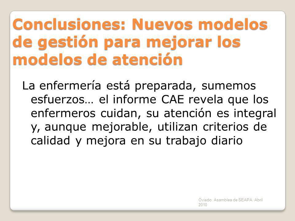 Oviedo. Asamblea de SEAPA. Abril 2010 Conclusiones: Nuevos modelos de gestión para mejorar los modelos de atención La enfermería está preparada, sumem