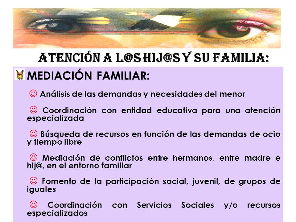 ATENCIÓN A L@S HIJ@S Y SU FAMILIA: MEDIACIÓN FAMILIAR: Análisis de las demandas y necesidades del menor Coordinación con entidad educativa para una at