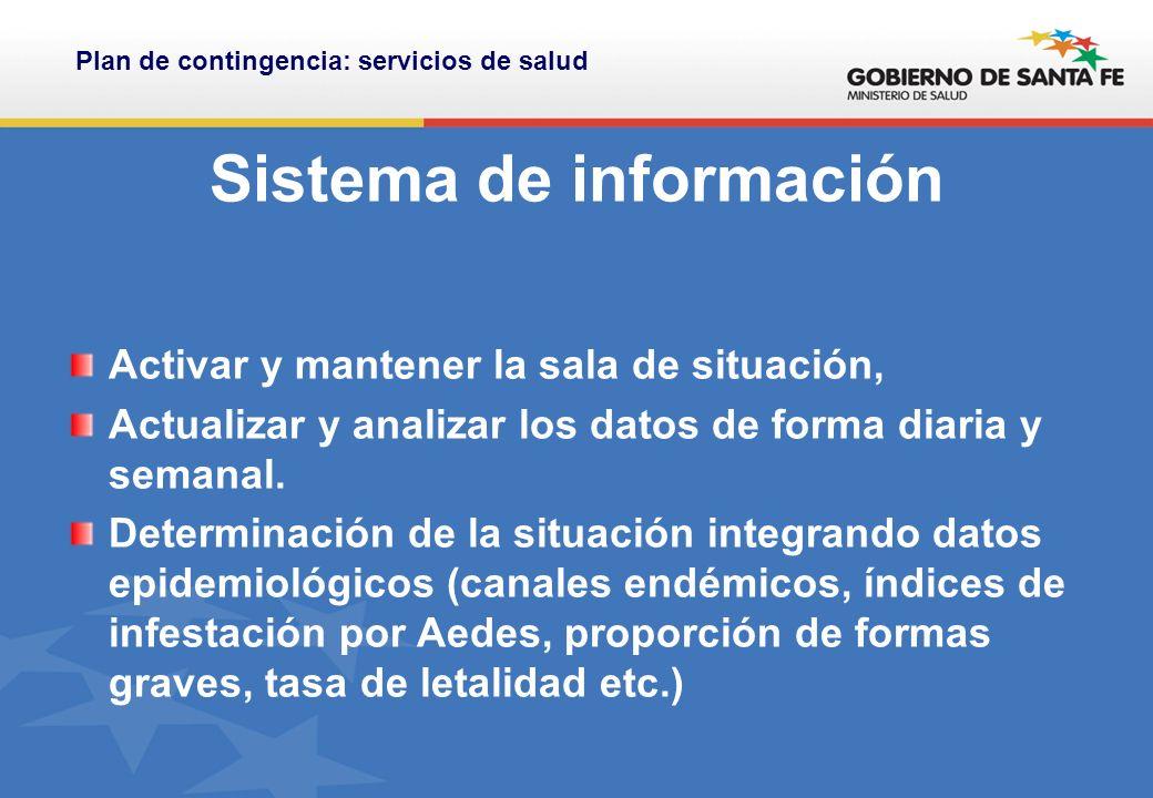 Sistema de información Activar y mantener la sala de situación, Actualizar y analizar los datos de forma diaria y semanal.