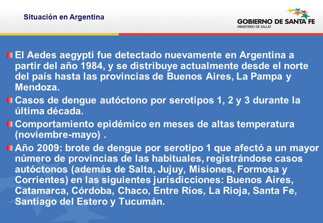 El Aedes aegypti fue detectado nuevamente en Argentina a partir del año 1984, y se distribuye actualmente desde el norte del país hasta las provincias de Buenos Aires, La Pampa y Mendoza.