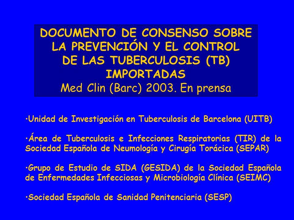 DOCUMENTO DE CONSENSO SOBRE LA PREVENCIÓN Y EL CONTROL DE LAS TUBERCULOSIS (TB) IMPORTADAS Med Clin (Barc) 2003.