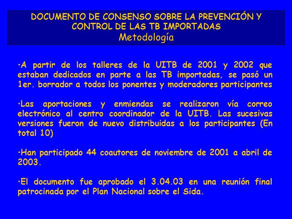 A partir de los talleres de la UITB de 2001 y 2002 que estaban dedicados en parte a las TB importadas, se pasó un 1er. borrador a todos los ponentes y