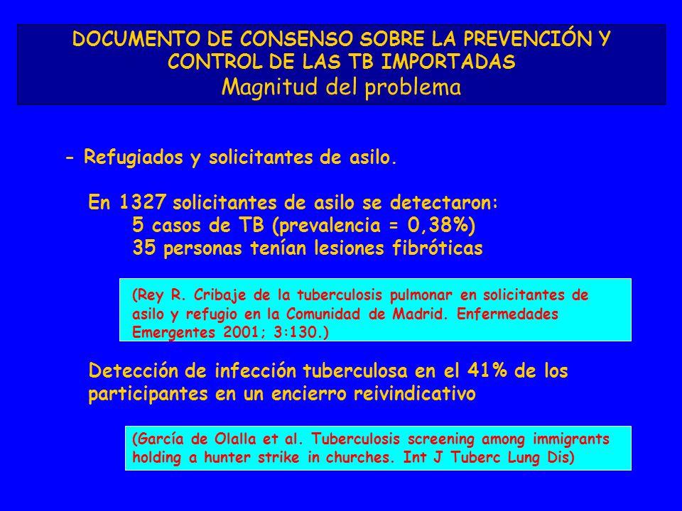 DOCUMENTO DE CONSENSO SOBRE LA PREVENCIÓN Y CONTROL DE LAS TB IMPORTADAS Magnitud del problema - Refugiados y solicitantes de asilo. En 1327 solicitan