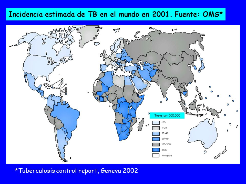 Tasas por 100.000 Incidencia estimada de TB en infectados por VIH.