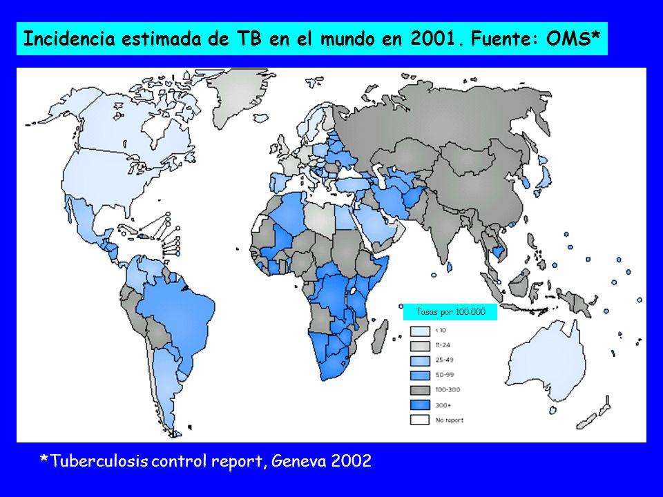 Incidencia estimada de TB en el mundo en 2001.