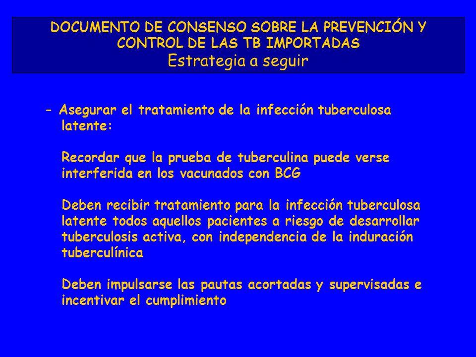 DOCUMENTO DE CONSENSO SOBRE LA PREVENCIÓN Y CONTROL DE LAS TB IMPORTADAS Estrategia a seguir - Asegurar el tratamiento de la infección tuberculosa latente: Recordar que la prueba de tuberculina puede verse interferida en los vacunados con BCG Deben recibir tratamiento para la infección tuberculosa latente todos aquellos pacientes a riesgo de desarrollar tuberculosis activa, con independencia de la induración tuberculínica Deben impulsarse las pautas acortadas y supervisadas e incentivar el cumplimiento