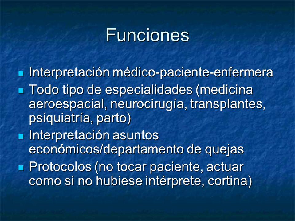 Funciones Interpretación médico-paciente-enfermera Interpretación médico-paciente-enfermera Todo tipo de especialidades (medicina aeroespacial, neuroc