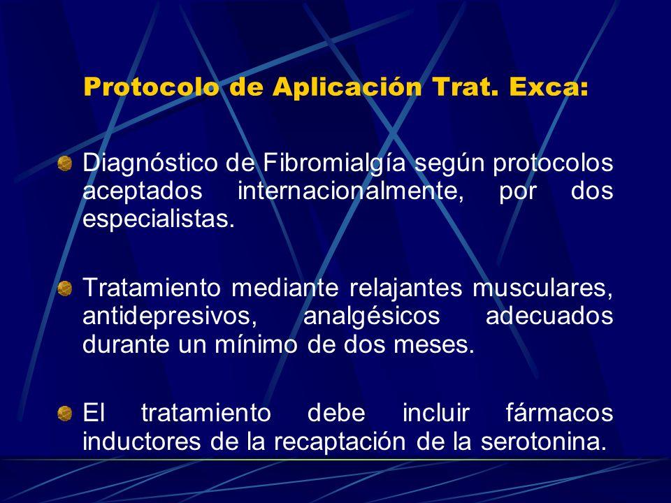 Protocolo de Aplicación Trat. Exca: Diagnóstico de Fibromialgía según protocolos aceptados internacionalmente, por dos especialistas. Tratamiento medi