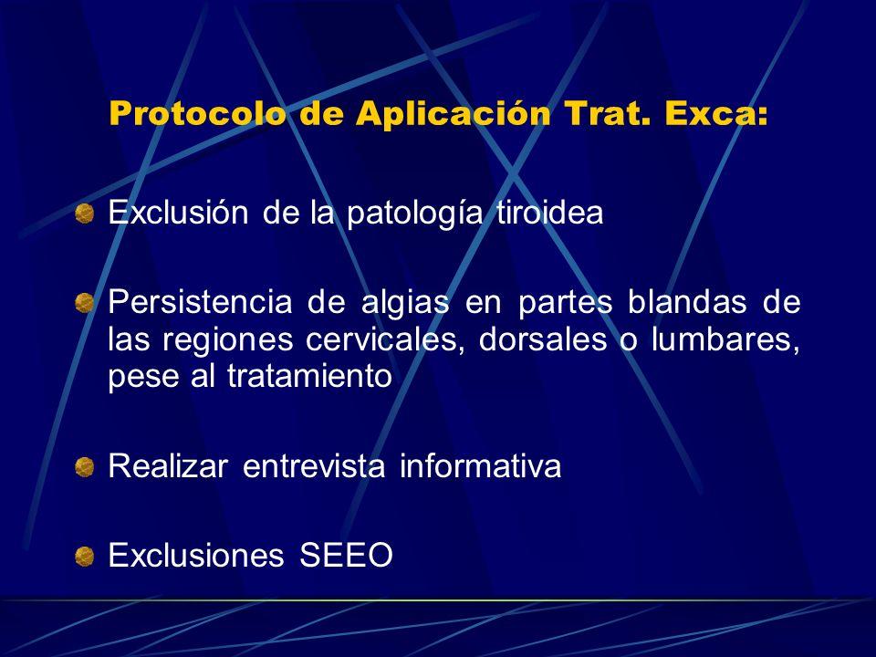 Protocolo de Aplicación Trat. Exca: Exclusión de la patología tiroidea Persistencia de algias en partes blandas de las regiones cervicales, dorsales o
