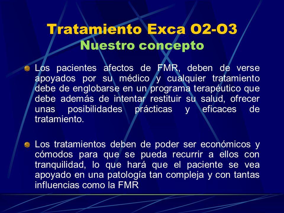 Tratamiento Exca O2-O3 Nuestro concepto Los pacientes afectos de FMR, deben de verse apoyados por su médico y cualquier tratamiento debe de englobarse