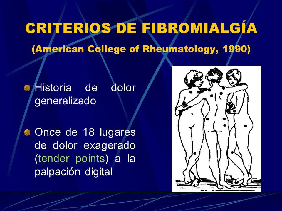 CRITERIOS DE FIBROMIALGÍA (American College of Rheumatology, 1990) Historia de dolor generalizado Once de 18 lugares de dolor exagerado (tender points