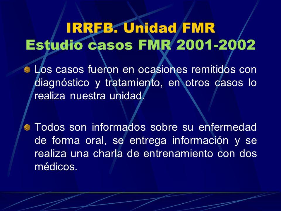 IRRFB. Unidad FMR Estudio casos FMR 2001-2002 Los casos fueron en ocasiones remitidos con diagnóstico y tratamiento, en otros casos lo realiza nuestra