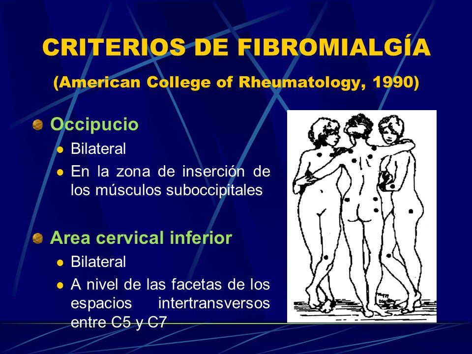 CRITERIOS DE FIBROMIALGÍA (American College of Rheumatology, 1990) Occipucio Bilateral En la zona de inserción de los músculos suboccipitales Area cer
