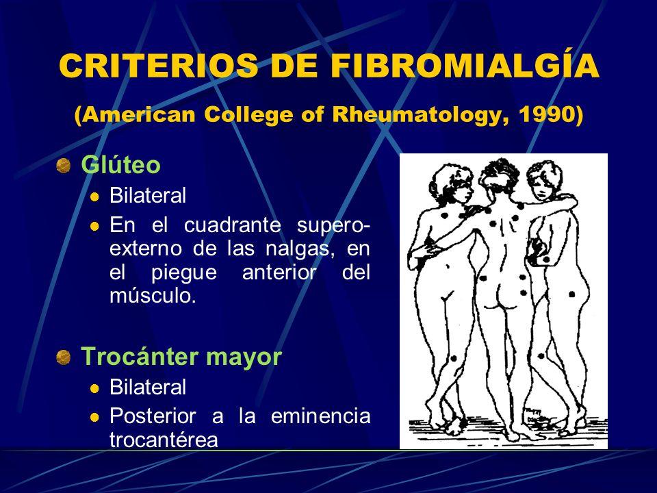 CRITERIOS DE FIBROMIALGÍA (American College of Rheumatology, 1990) Glúteo Bilateral En el cuadrante supero- externo de las nalgas, en el piegue anteri
