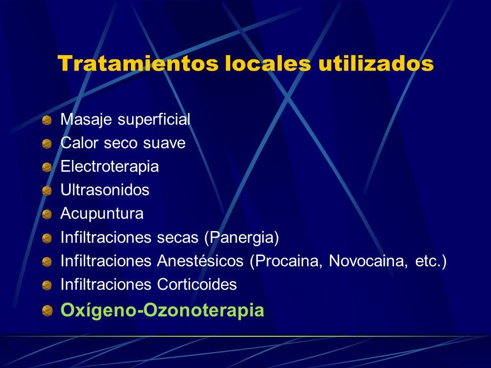 Tratamientos locales utilizados Masaje superficial Calor seco suave Electroterapia Ultrasonidos Acupuntura Infiltraciones secas (Panergia) Infiltracio
