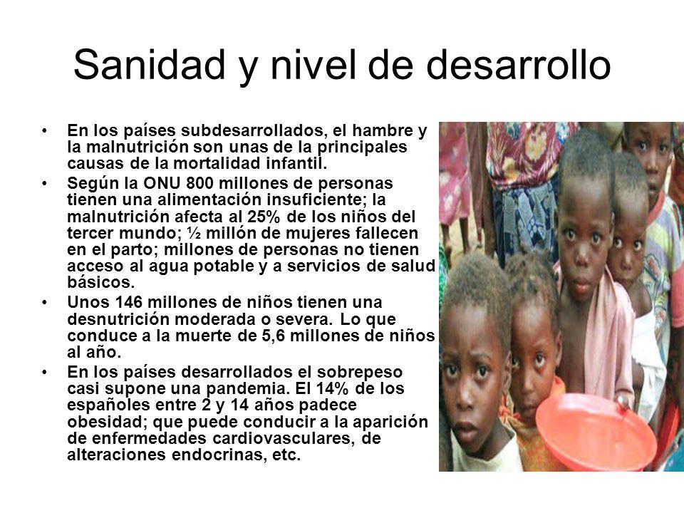 Sanidad y nivel de desarrollo En los países subdesarrollados, el hambre y la malnutrición son unas de la principales causas de la mortalidad infantil.