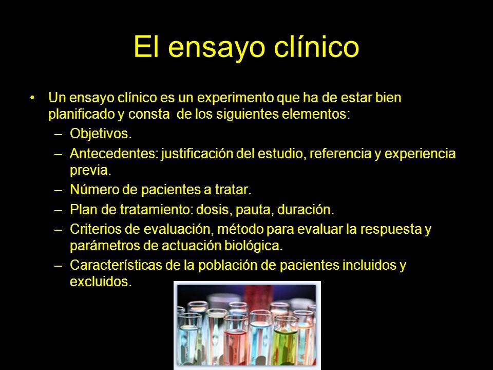 El ensayo clínico Un ensayo clínico es un experimento que ha de estar bien planificado y consta de los siguientes elementos: –Objetivos.