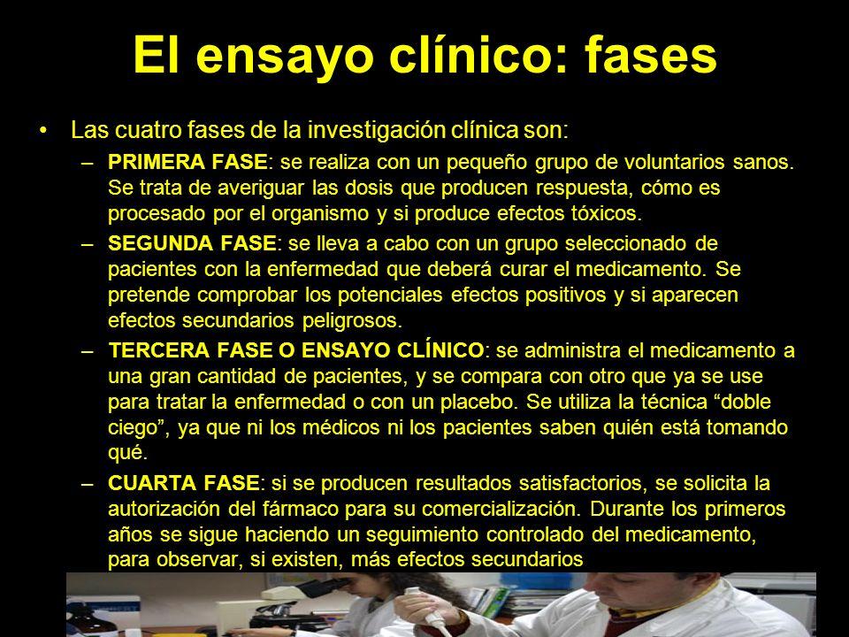 El ensayo clínico: fases Las cuatro fases de la investigación clínica son: –PRIMERA FASE: se realiza con un pequeño grupo de voluntarios sanos.