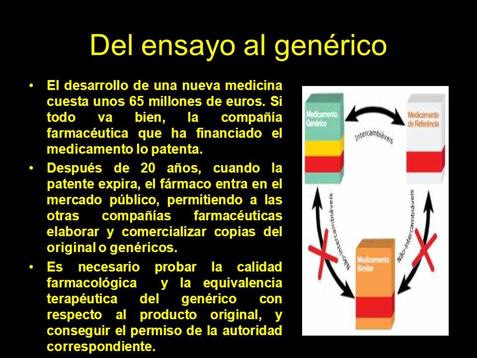 Del ensayo al genérico El desarrollo de una nueva medicina cuesta unos 65 millones de euros.