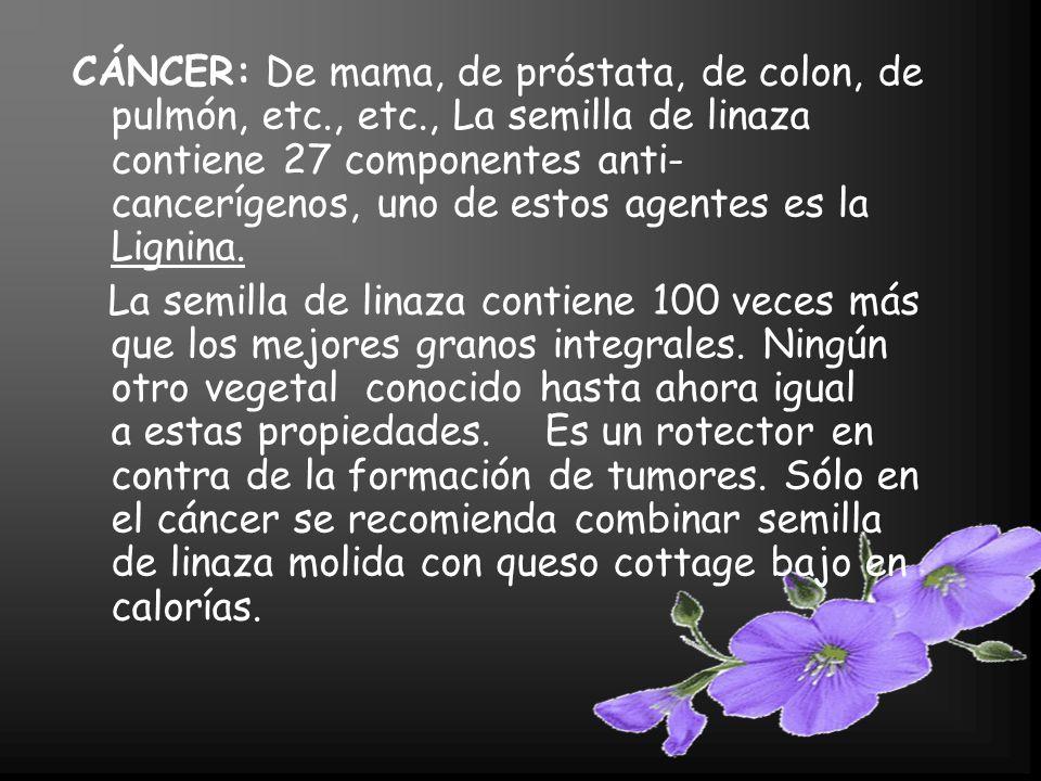 CÁNCER: De mama, de próstata, de colon, de pulmón, etc., etc., La semilla de linaza contiene 27 componentes anti- cancerígenos, uno de estos agentes es la Lignina.