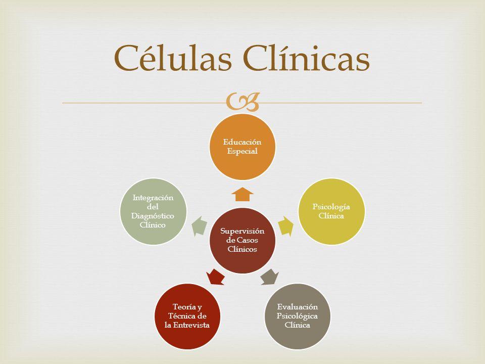 Células Clínicas Supervisión de Casos Clínicos Educación Especial Psicología Clínica Evaluación Psicológica Clínica Teoría y Técnica de la Entrevista