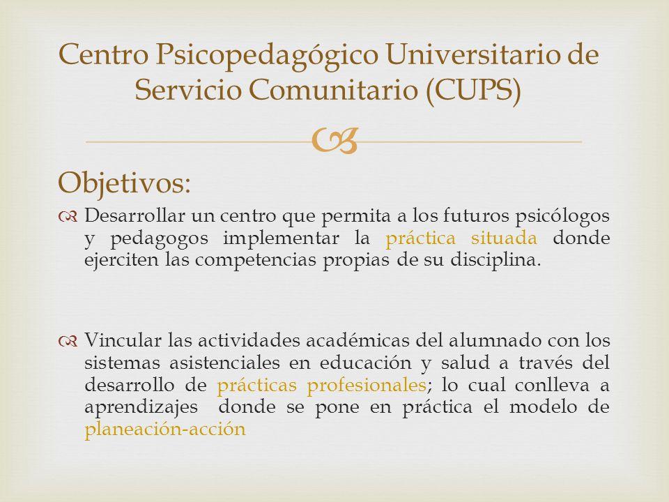 Centro Psicopedagógico Universitario de Servicio Comunitario (CUPS) Objetivos: Desarrollar un centro que permita a los futuros psicólogos y pedagogos