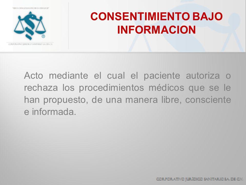 CONSENTIMIENTO BAJO INFORMACION Acto mediante el cual el paciente autoriza o rechaza los procedimientos médicos que se le han propuesto, de una manera