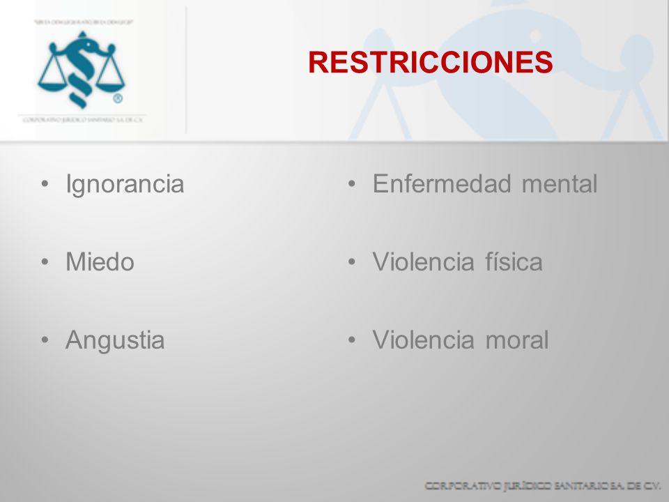 RESTRICCIONES Ignorancia Miedo Angustia Enfermedad mental Violencia física Violencia moral