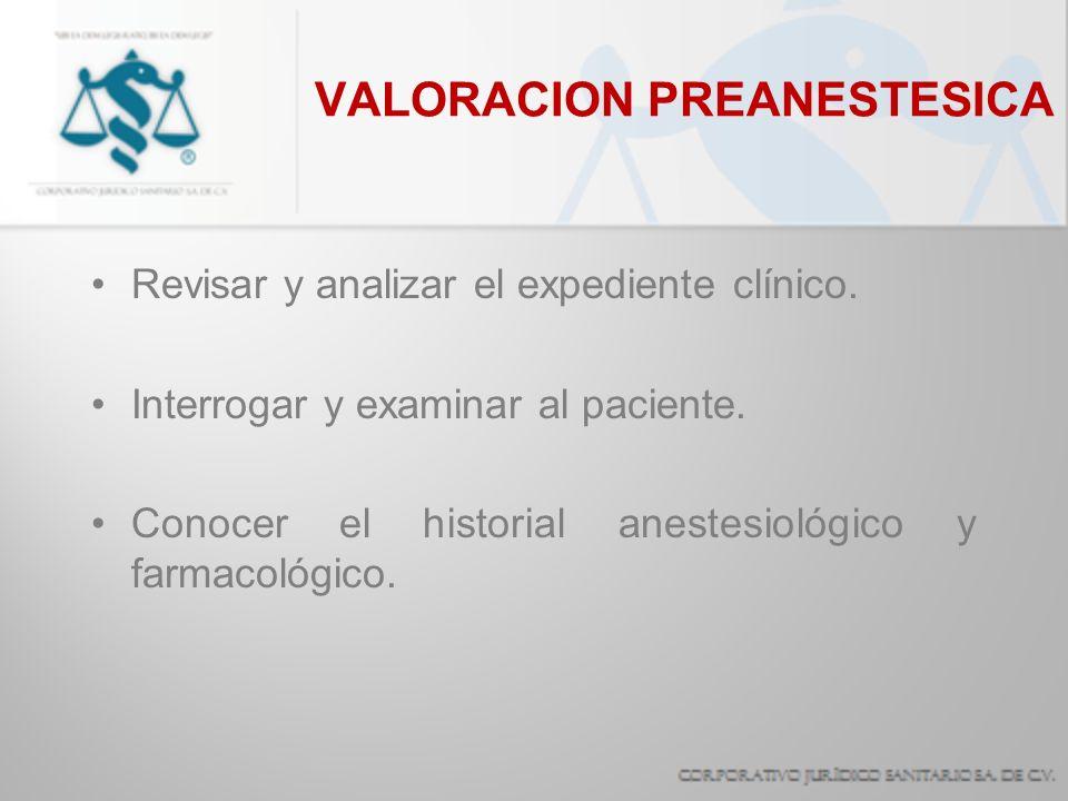 VALORACION PREANESTESICA Revisar y analizar el expediente clínico. Interrogar y examinar al paciente. Conocer el historial anestesiológico y farmacoló