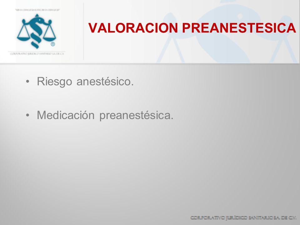 VALORACION PREANESTESICA Riesgo anestésico. Medicación preanestésica.