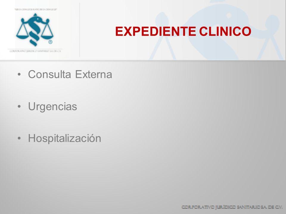 EXPEDIENTE CLINICO Consulta Externa Urgencias Hospitalización