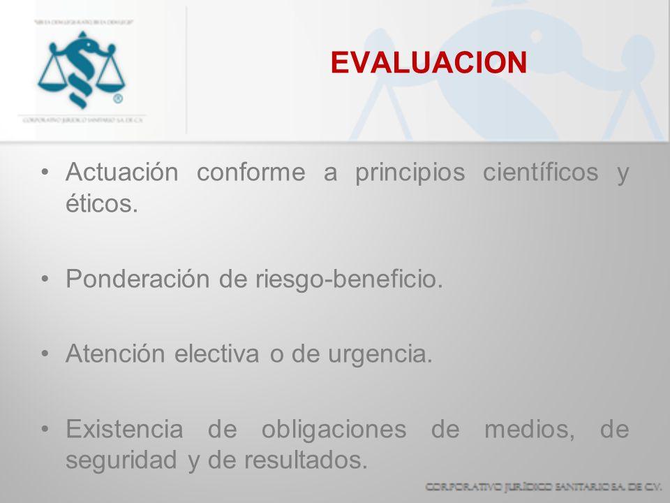 EVALUACION Actuación conforme a principios científicos y éticos. Ponderación de riesgo-beneficio. Atención electiva o de urgencia. Existencia de oblig