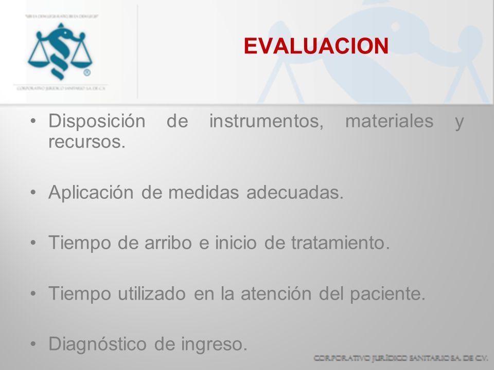 EVALUACION Disposición de instrumentos, materiales y recursos. Aplicación de medidas adecuadas. Tiempo de arribo e inicio de tratamiento. Tiempo utili