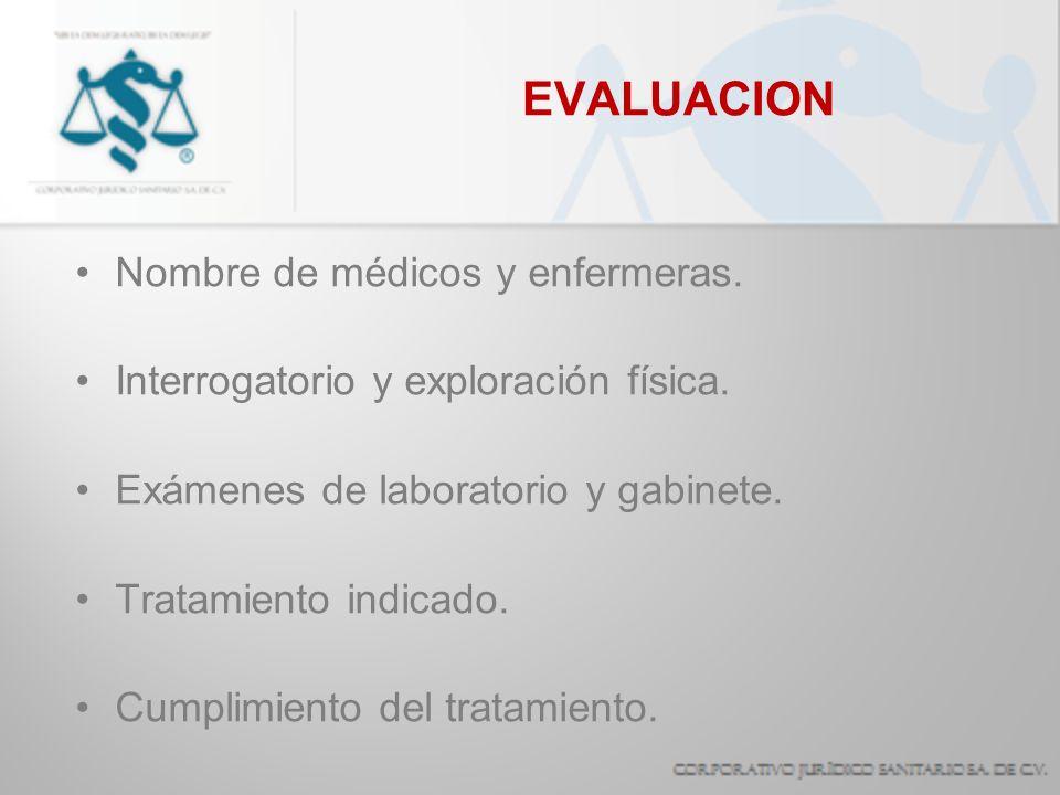 EVALUACION Nombre de médicos y enfermeras. Interrogatorio y exploración física. Exámenes de laboratorio y gabinete. Tratamiento indicado. Cumplimiento