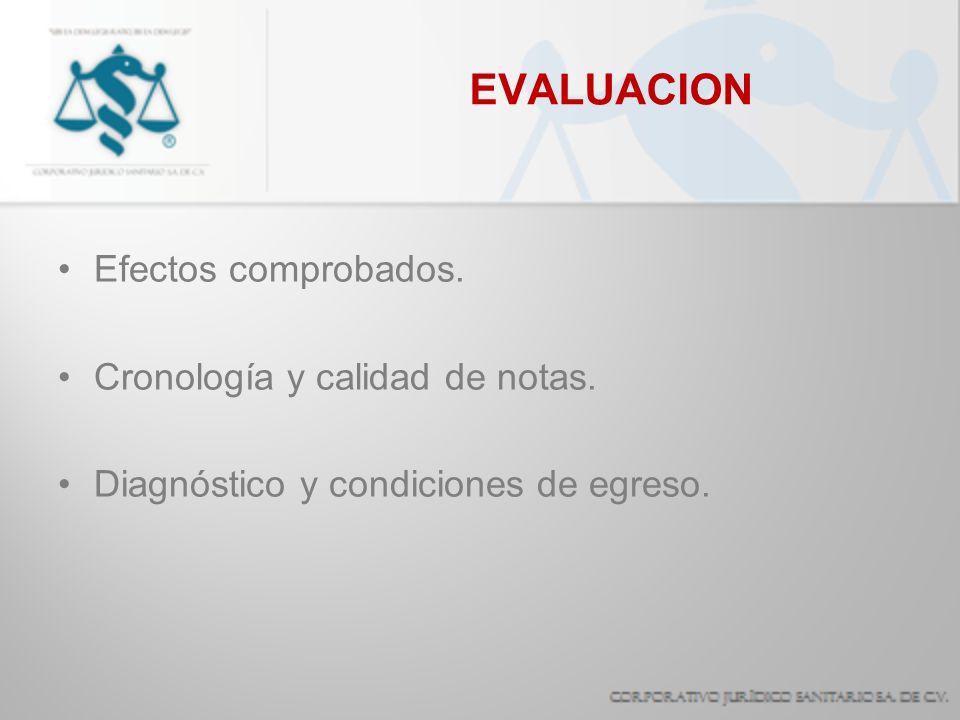 EVALUACION Efectos comprobados. Cronología y calidad de notas. Diagnóstico y condiciones de egreso.