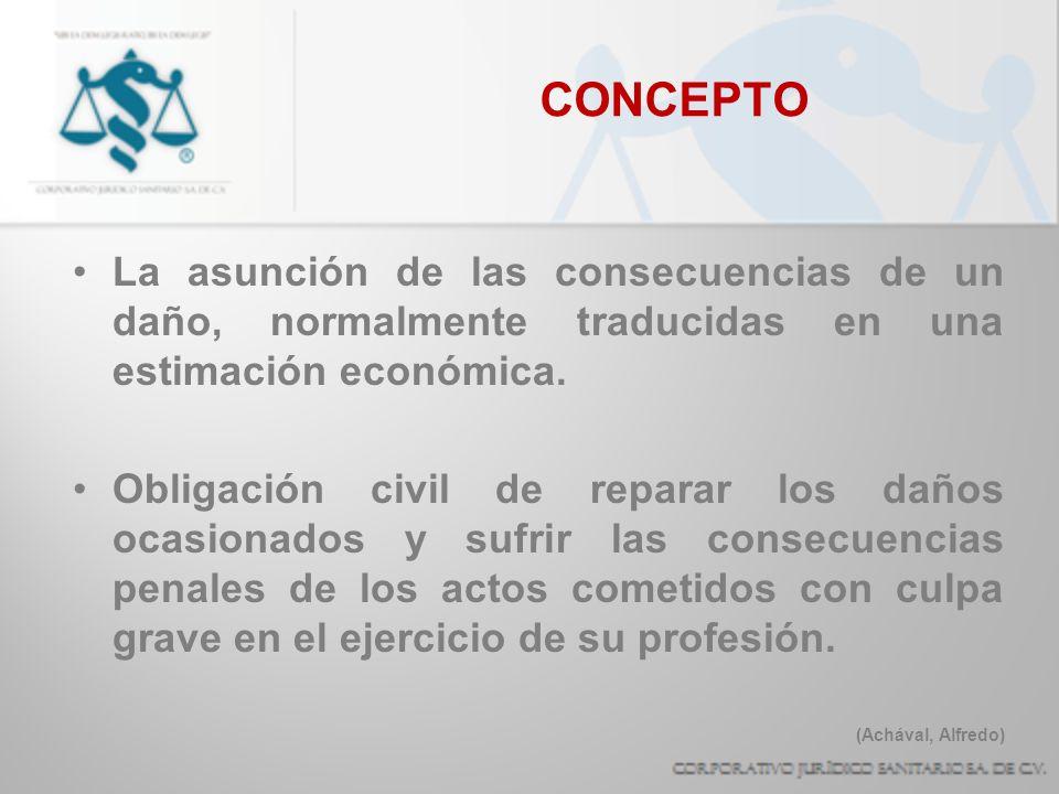 CONCEPTO La asunción de las consecuencias de un daño, normalmente traducidas en una estimación económica. Obligación civil de reparar los daños ocasio