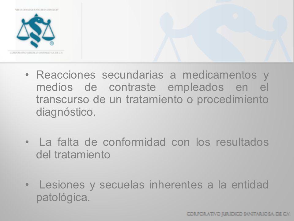 Reacciones secundarias a medicamentos y medios de contraste empleados en el transcurso de un tratamiento o procedimiento diagnóstico. La falta de conf