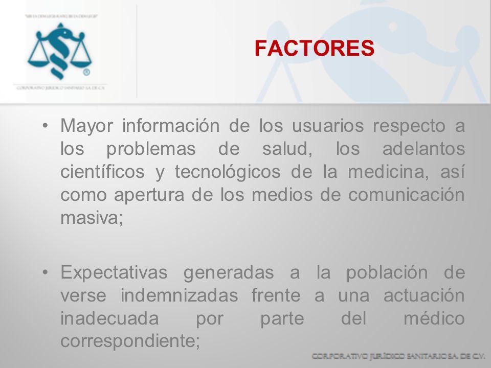 FACTORES Mayor información de los usuarios respecto a los problemas de salud, los adelantos científicos y tecnológicos de la medicina, así como apertu