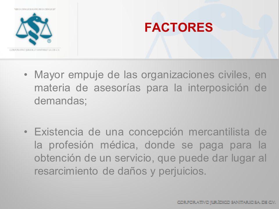 FACTORES Mayor empuje de las organizaciones civiles, en materia de asesorías para la interposición de demandas; Existencia de una concepción mercantil