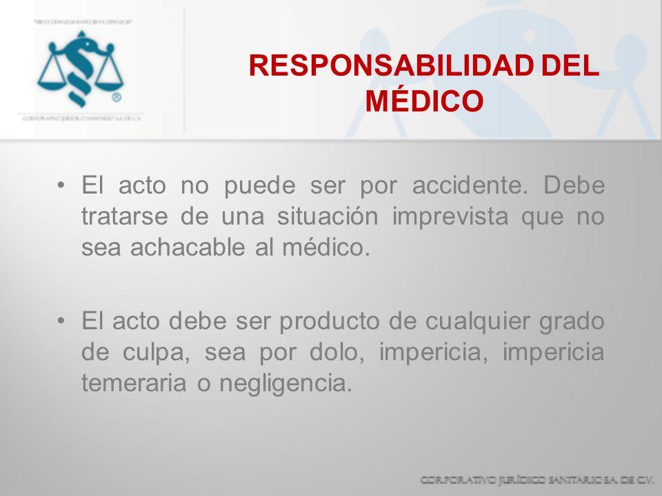 RESPONSABILIDAD DEL MÉDICO El acto no puede ser por accidente. Debe tratarse de una situación imprevista que no sea achacable al médico. El acto debe