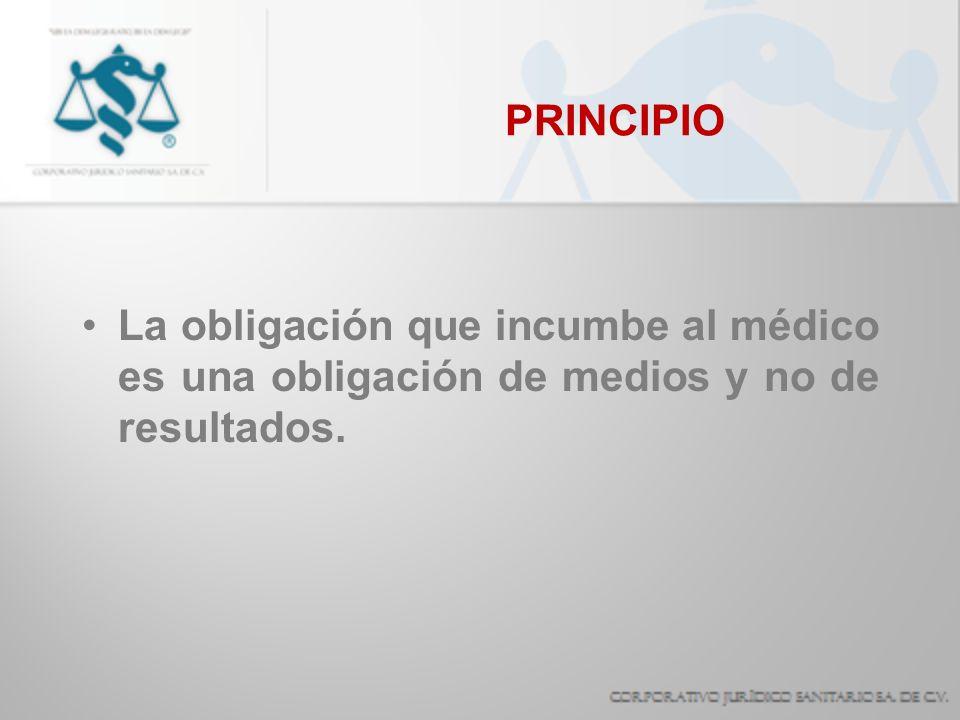 PRINCIPIO La obligación que incumbe al médico es una obligación de medios y no de resultados.